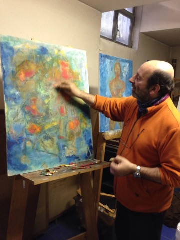Luca Grippa dipinge